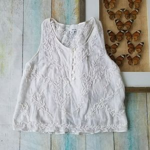 Greylin Embroidered Cotton Festival Tank Top M